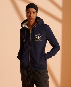 SUPERDRY ESTABLISHED ZIP HOOD Nautical Navy