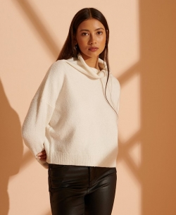 SUPERDRY ISABELLA CROPPED FUNNEL NECK Winter White Marl