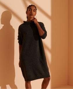 SUPERDRY SABELLA FUNNEL NECK DRESS Dark Charcoal Marl