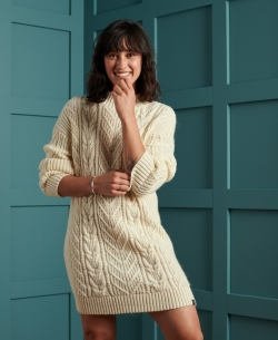 SUPERDRY FLORENCE CABLE DRESS Cream