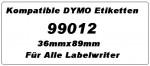 Kompatible Dymo Etiketten 99012 x 12 Rollen
