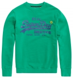 SUPERDRY - VINTAGE LOGO PANEL STRIPE CREW Pitch Green