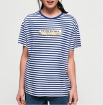 SUPERDRY MINIMAL LOGO STRIPE PORTLAND TEE Monico Blue/Optic Stripe