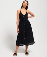 SUPERDRY JAYDE TIE FRONT MIDI DRESS Black