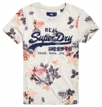 SUPERDRY V LOGO PHOTO ROSE AOP ENTRY TEE Oatmeal Marl