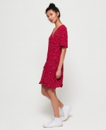 SUPERDRY DARCY BUTTON THROUGH DRESS Red Ditsy