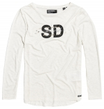 SUPERDRY SPARKLE LONGSLEEVE GRAPHIC TOP Soft White Marl