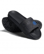 SUPERDRY LINEMAN POOL SLIDE Black/Black Grit/Cobalt