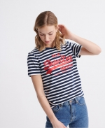SUPERDRY VL SATIN STRIPE ENTRY TEE Navy Stripe