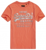 SUPERDRY PG METALLIC ENTRY TEE Deep Coral