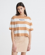 SUPERDRY HARPER STRIPE BOXY TEE Biscuit