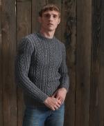 SUPERDRY JACOB CABLE CREW Basalt Grey Twist