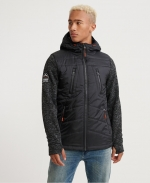 SUPERDRY STORM HYBRID ZIPHOOD Gritty Black