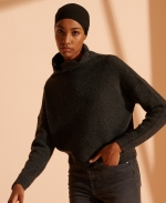 SUPERDRY Isabella Cropped Funnel Neck Jumper Charcoal Mix Marl