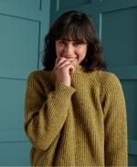 SUPERDRY Freya Tweed Crew Jumper Mustard Tweed
