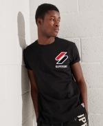SUPERDRY Sportstyle T-Shirt Mit Chenille-Grafik Schwarz