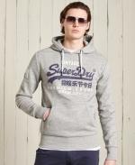SUPERDRY Vintage Logo Hoodie Grau Meliert